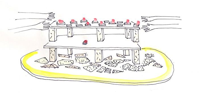 croquis buffet à étages