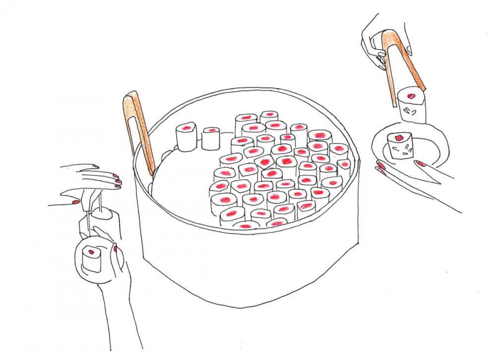 Illustration dégustation makis et sushis