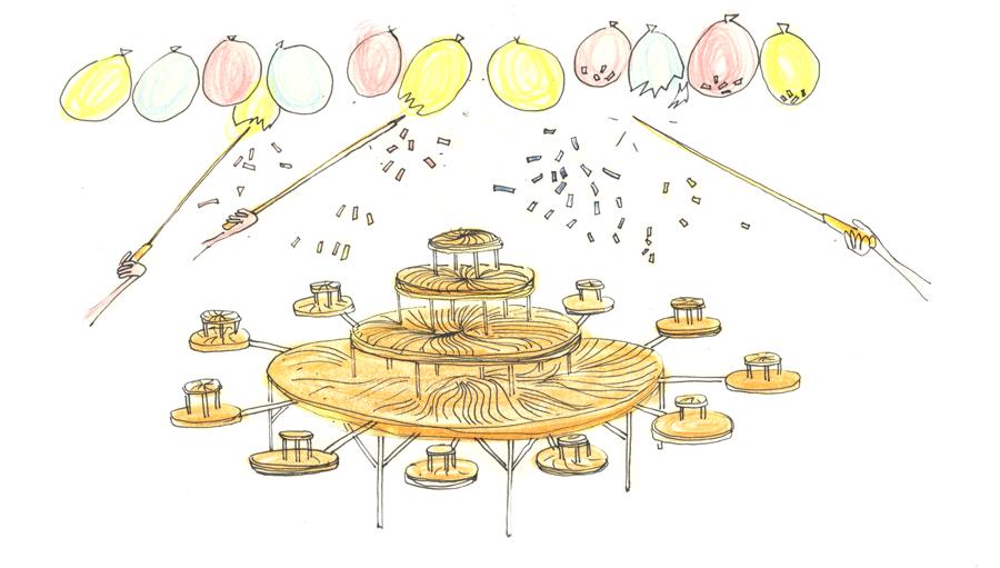 Illustration de la pièce montée géante pour galette des rois. Dessin du feu d'artifice de confettis alimentaires