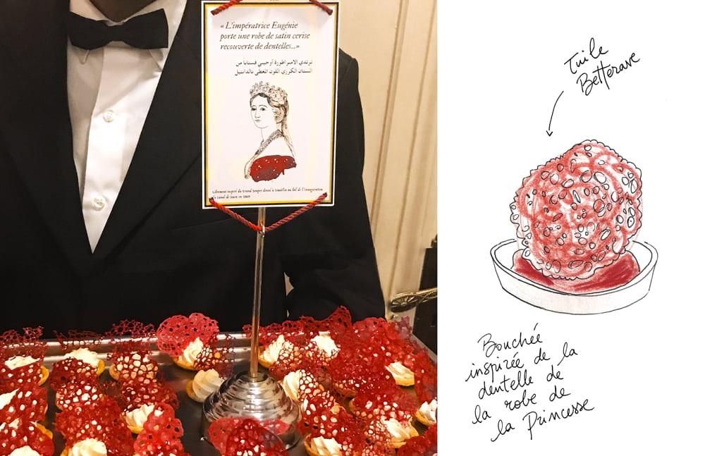 Amuse bouche inspiré de la dentelle de la robe rouge de l'Impératrice Eugénie.  Plateau pour le service.