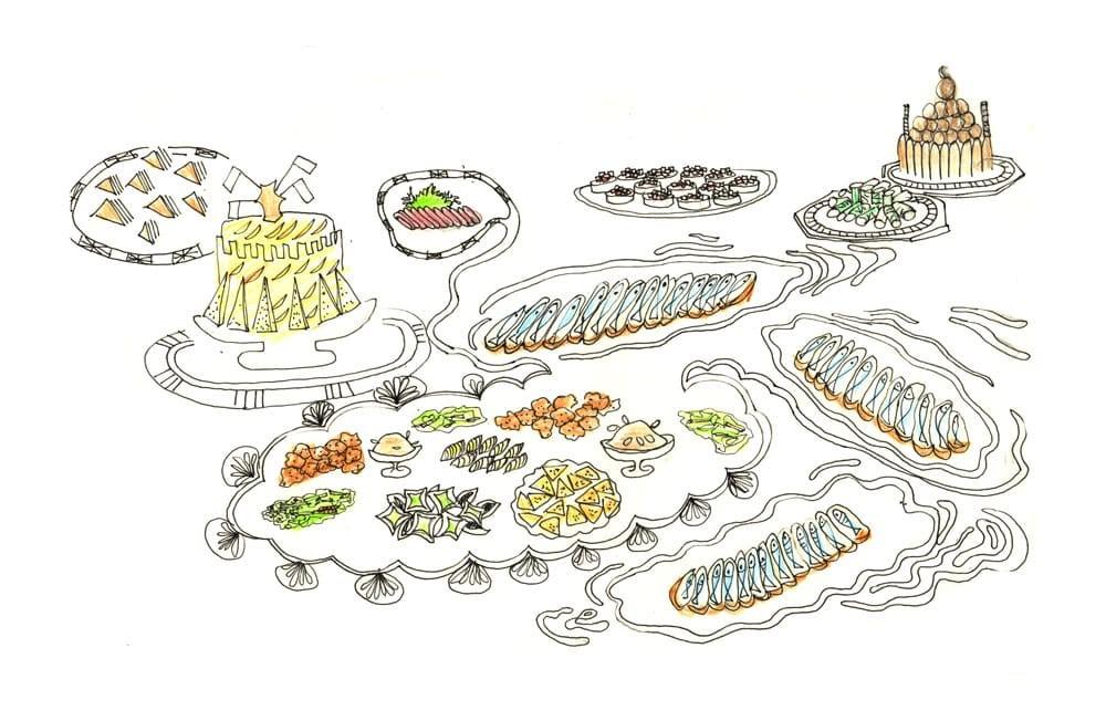 Illustration des plats des entrées