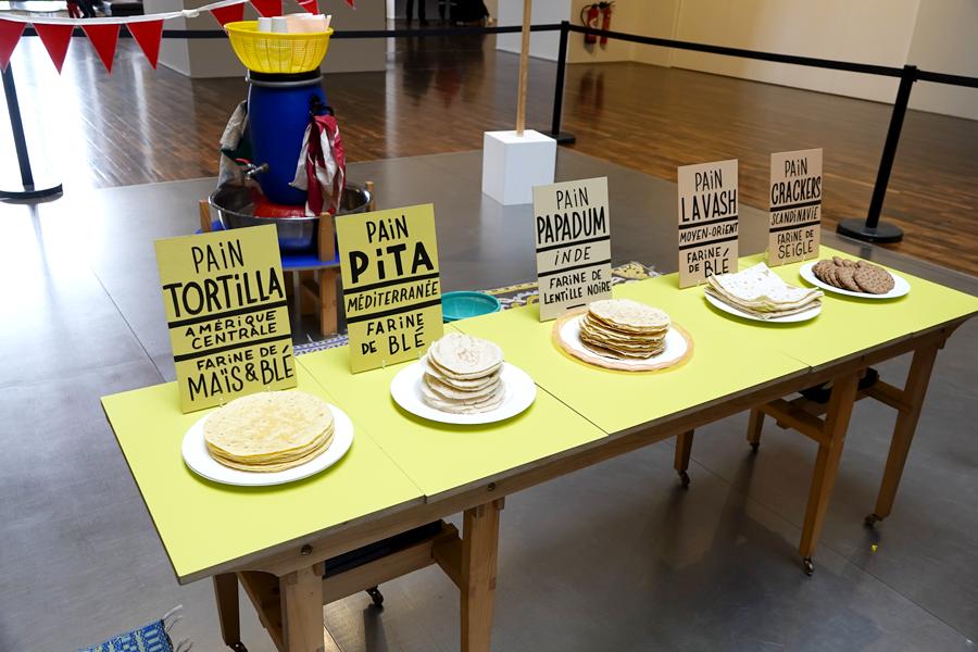 Autoportraits culinaires à partir des pains du monde.  Pain tortilla, pain pita , pain papadum, pain lavash, pain crackers.