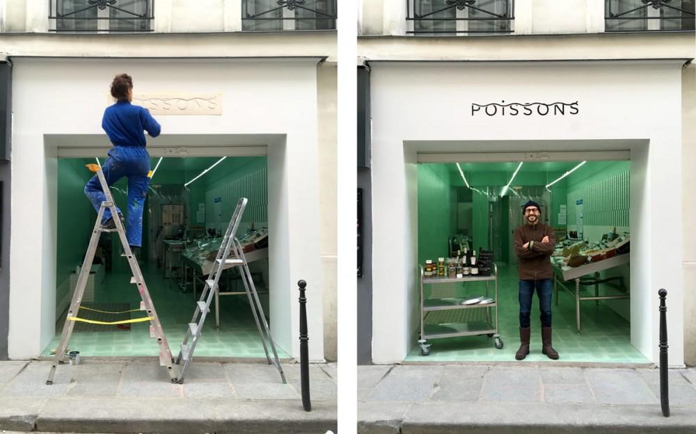 Façade de la poissonnerie Poissons, située dans la rue des Gravillliers à Paris. Identité visuelle de la marque.